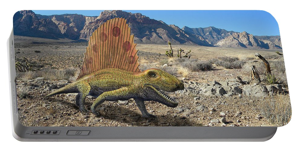 Dinosaur Art Portable Battery Charger featuring the mixed media Dimetrodon In The Desert by Frank Wilson