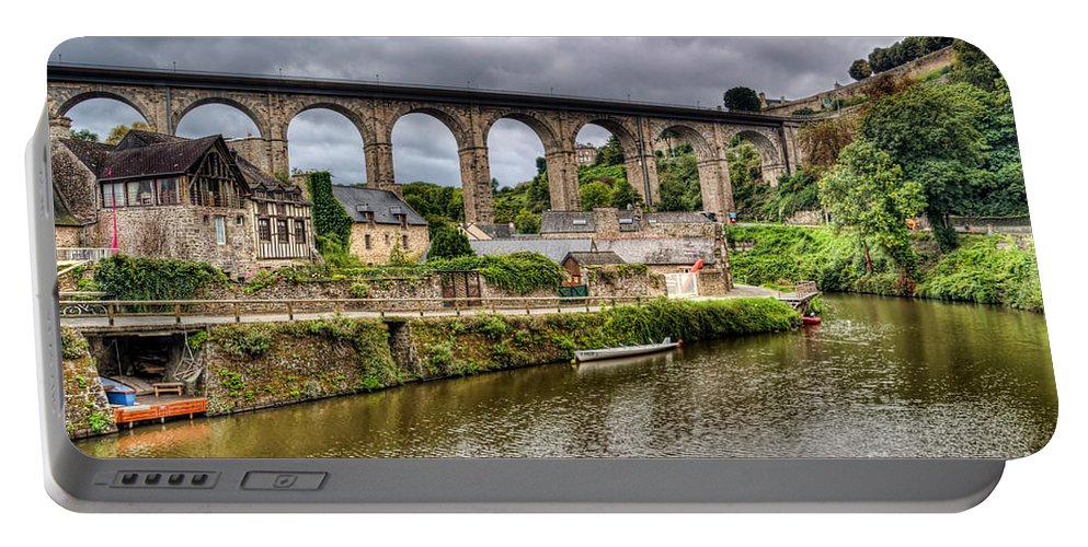 Dinan Portable Battery Charger featuring the photograph Dinan Port Brittany France by Ann Garrett