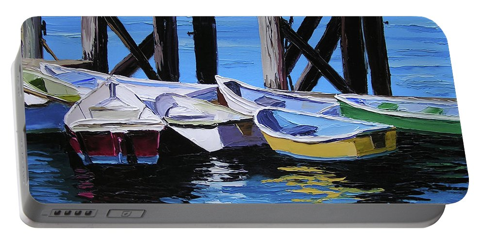 Dinghy Portable Battery Charger featuring the painting Dinghies At The Dock by Alison Vernon