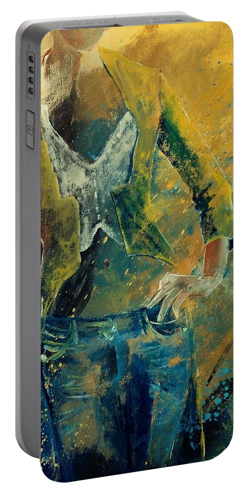 Woman Girl Fashion Portable Battery Charger featuring the painting Dinner Jacket by Pol Ledent