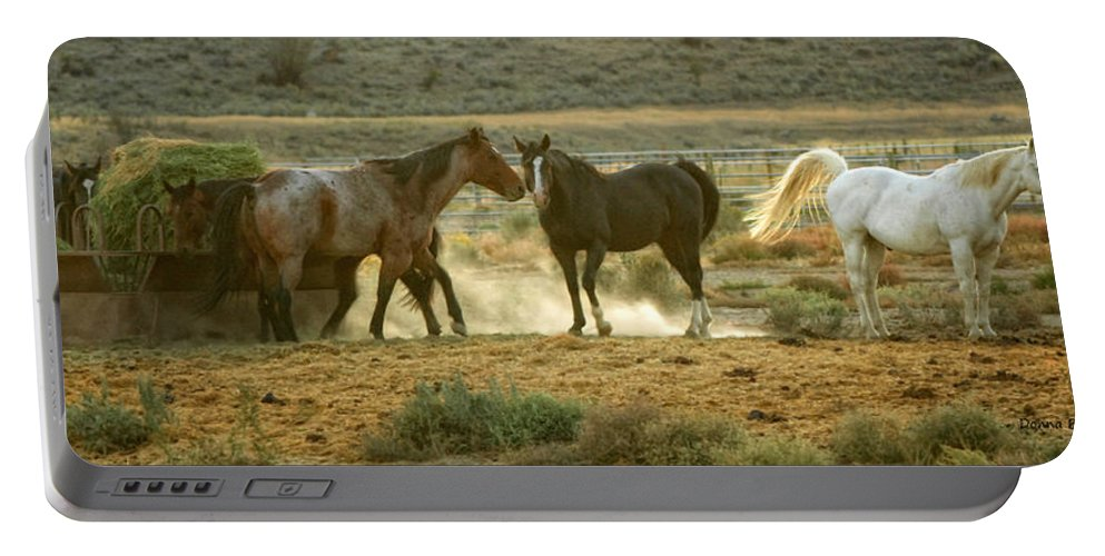Horses Portable Battery Charger featuring the photograph Dinner Time by Donna Blackhall