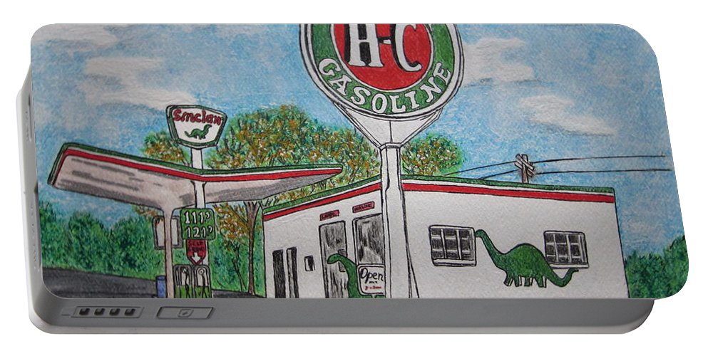 Dino Portable Battery Charger featuring the painting Dino Sinclair Gas Station by Kathy Marrs Chandler