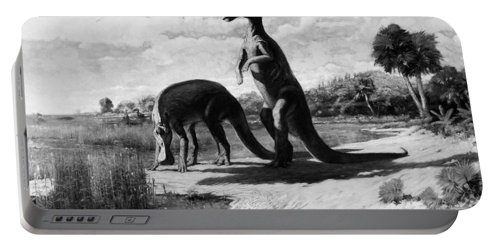 American Portable Battery Charger featuring the photograph Dinosaurs: Trachodon by Granger