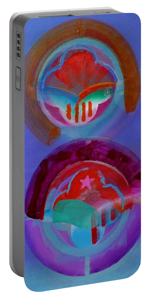 Logo Portable Battery Charger featuring the painting Diptych by Charles Stuart