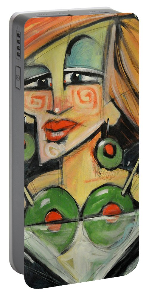 Martini Portable Battery Charger featuring the painting Dirty With Two - The Julianne Moore Version by Tim Nyberg