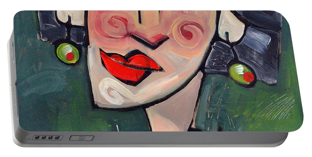 Martini Portable Battery Charger featuring the painting Dirty With Two Olives by Tim Nyberg