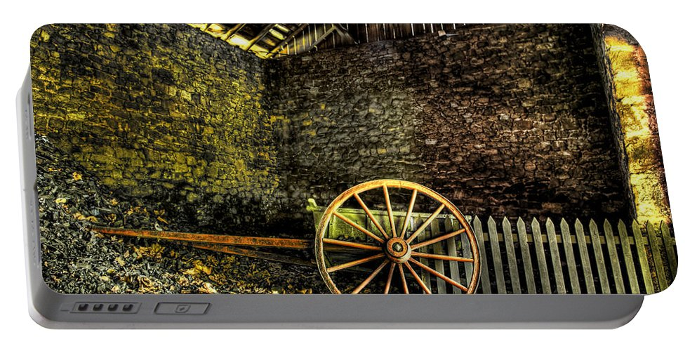 Farm Portable Battery Charger featuring the photograph Discarded Cart by Scott Wyatt