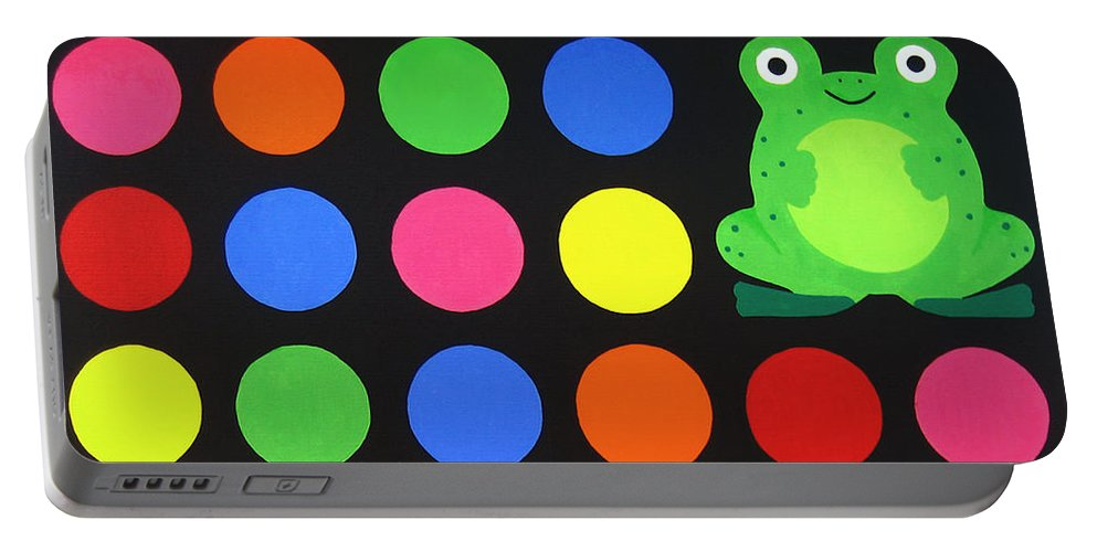 Red Portable Battery Charger featuring the painting Discofrog by Oliver Johnston