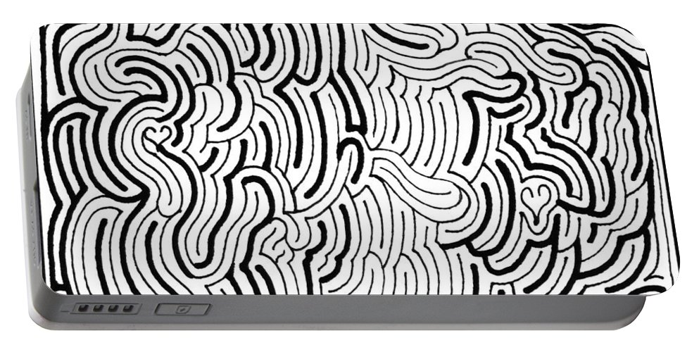 Mazes Portable Battery Charger featuring the drawing Discordant by Steven Natanson