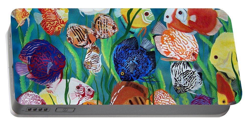 Fish Portable Battery Charger featuring the painting Discus Fantasy by Debbie LaFrance