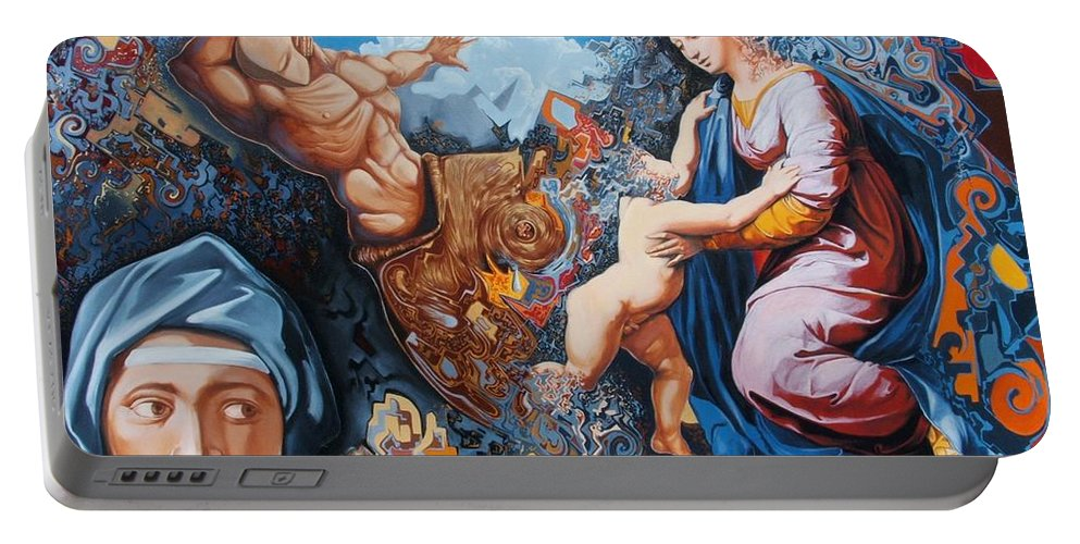 Surrealism Portable Battery Charger featuring the painting Disintegration Of The Old Ancient World by Darwin Leon