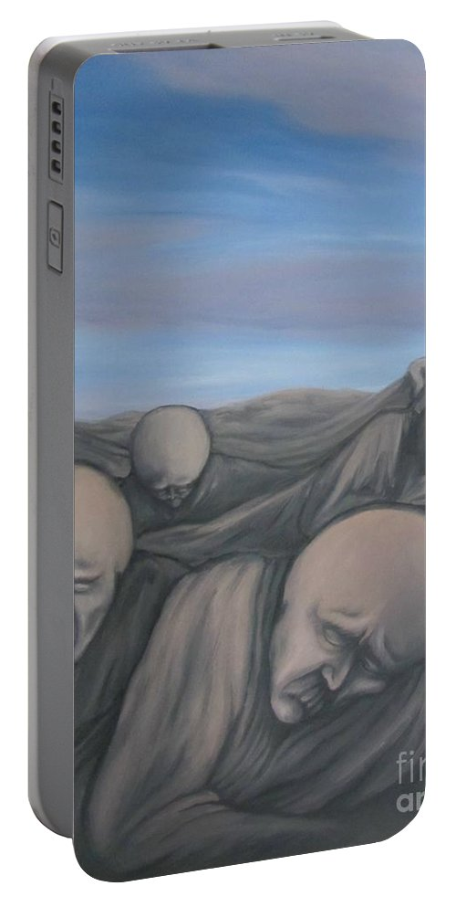 Tmad Portable Battery Charger featuring the painting Dismay by Michael TMAD Finney