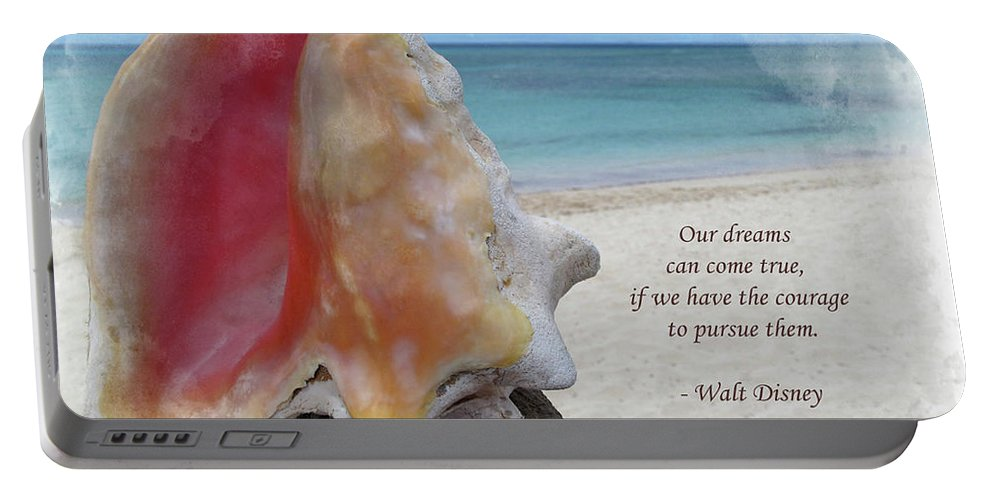 Disney Portable Battery Charger featuring the digital art Disney Inspiration Quote by Joan Minchak