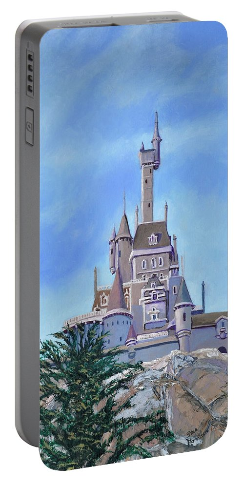 Castle Portable Battery Charger featuring the painting Disney World by Stan Hamilton