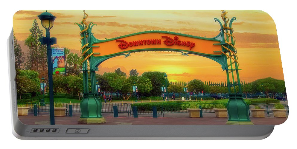 Disney Portable Battery Charger featuring the photograph Disneyland Downtown Disney Signage 02 by Thomas Woolworth