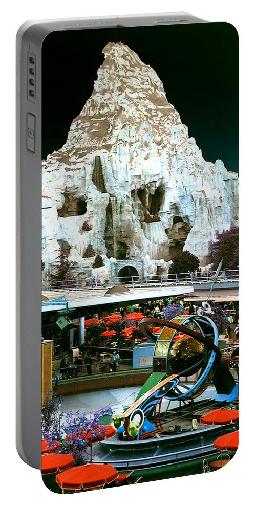 Disneyland Portable Battery Charger featuring the photograph Disneyland Tomorrowland - Pop Color by Dorothy Lee