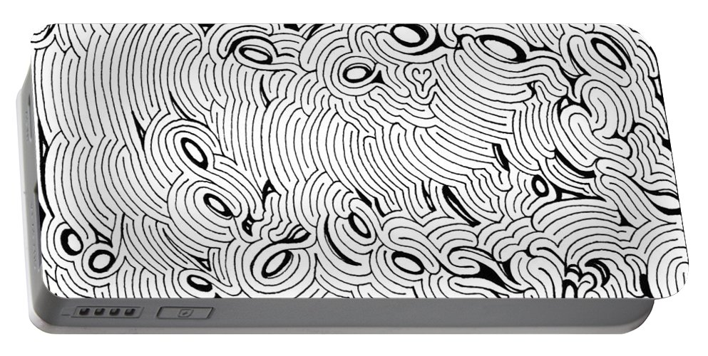 Mazes Portable Battery Charger featuring the drawing Disruption by Steven Natanson