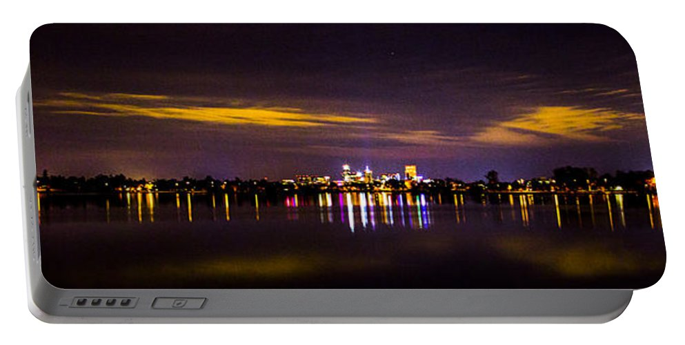 Cityscape Portable Battery Charger featuring the photograph Distant City by Angus Hooper Iii