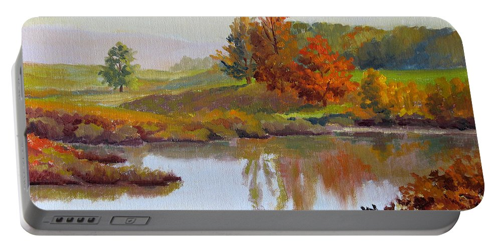 Landscape Portable Battery Charger featuring the painting Distant Maples by Keith Burgess