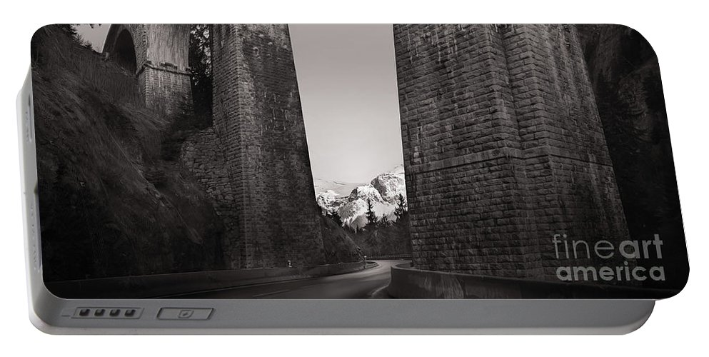 Bridge Portable Battery Charger featuring the photograph Distant Mountain And Long Bridge by Sasha Samardzija