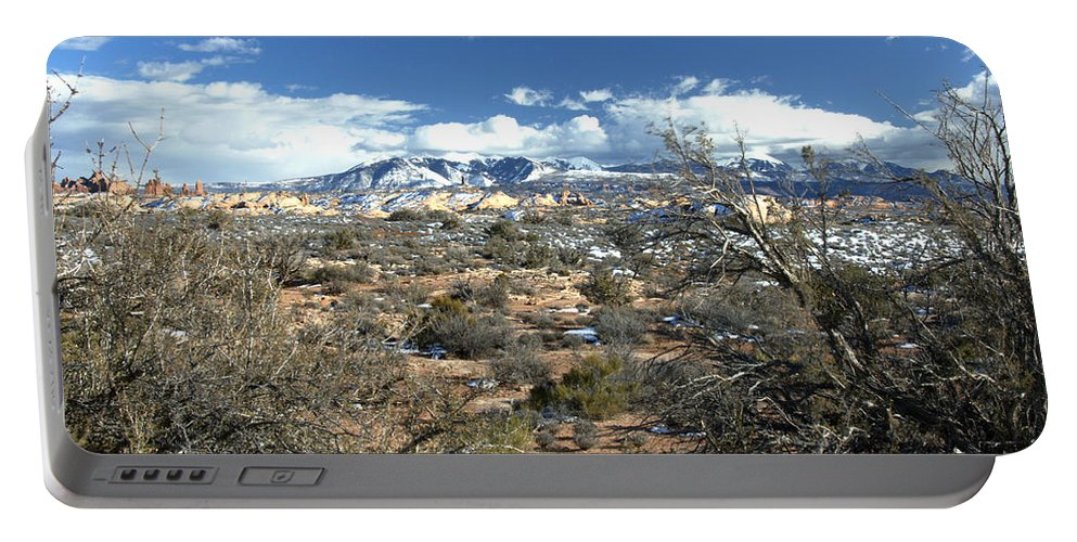 Mountain Portable Battery Charger featuring the photograph Distant Mountain Range by Paul Cannon