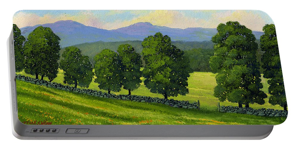 Landscape Portable Battery Charger featuring the painting Distant Mountains by Frank Wilson
