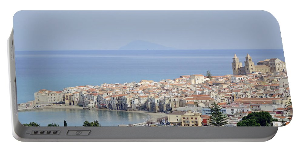 Cefalu Portable Battery Charger featuring the photograph Distant View Of Cefalu Sicily by Richard Rosenshein