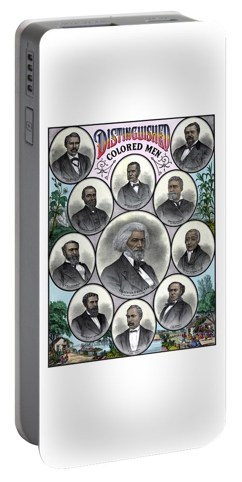 Black History Portable Battery Charger featuring the painting Distinguished Colored Men by War Is Hell Store