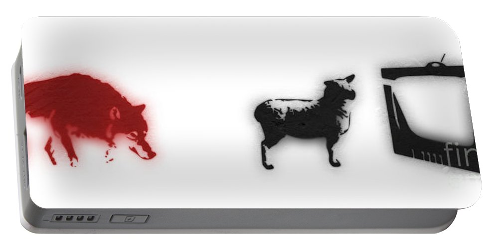 Banksy Portable Battery Charger featuring the digital art Distraction by Pixel Chimp and Dave Merrill