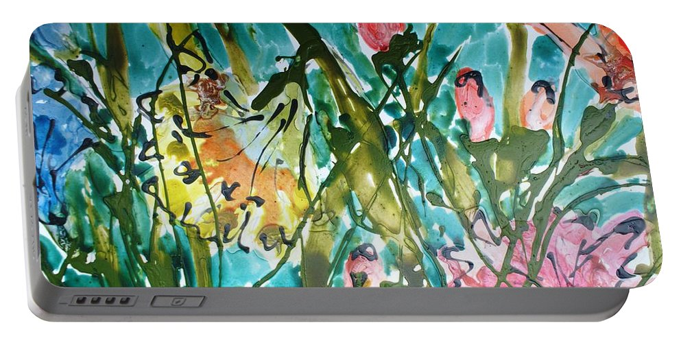 Flowers Portable Battery Charger featuring the painting Divine Blooms-21191 by Baljit Chadha