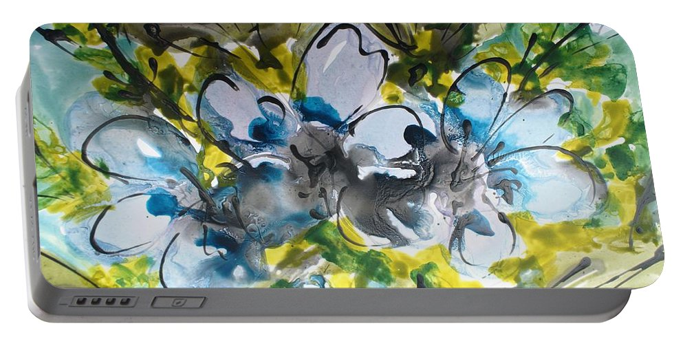 Flowers Portable Battery Charger featuring the painting Divine Blooms-21195 by Baljit Chadha