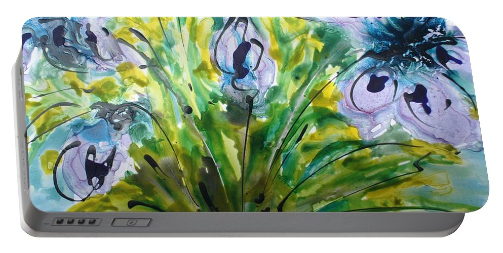 Flowers Portable Battery Charger featuring the painting Divine Blooms-21196 by Baljit Chadha
