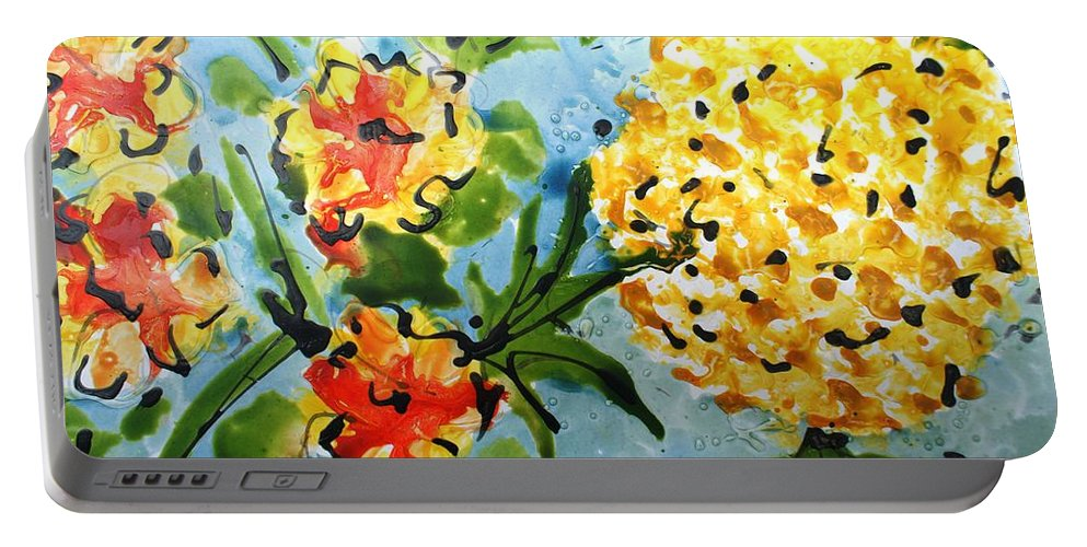 Flowers Portable Battery Charger featuring the painting Divine Blooms-21197 by Baljit Chadha
