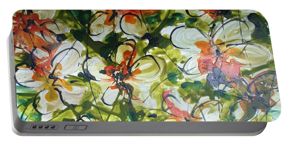 Flowers Portable Battery Charger featuring the painting Divine Blooms-21203 by Baljit Chadha