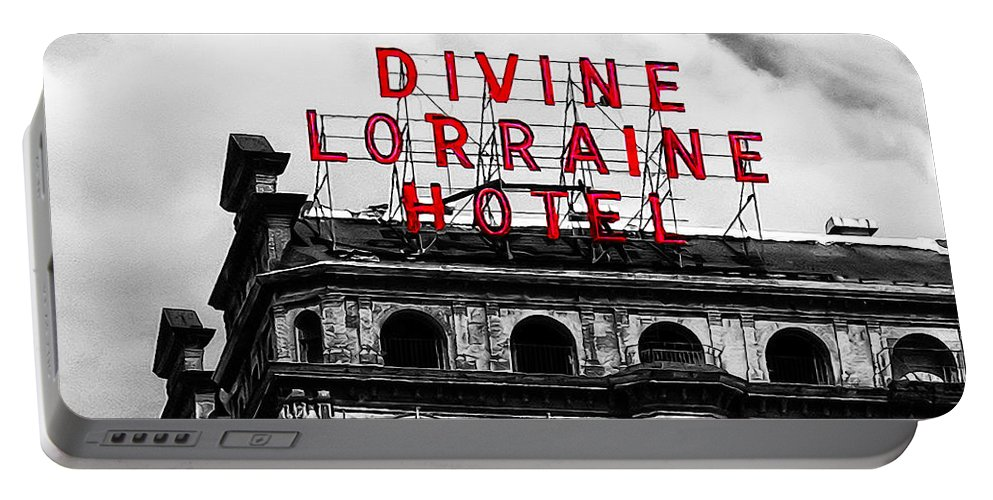 Divine Lorraine Hotel Marquee Portable Battery Charger featuring the photograph Divine Lorraine Hotel Marquee by Bill Cannon