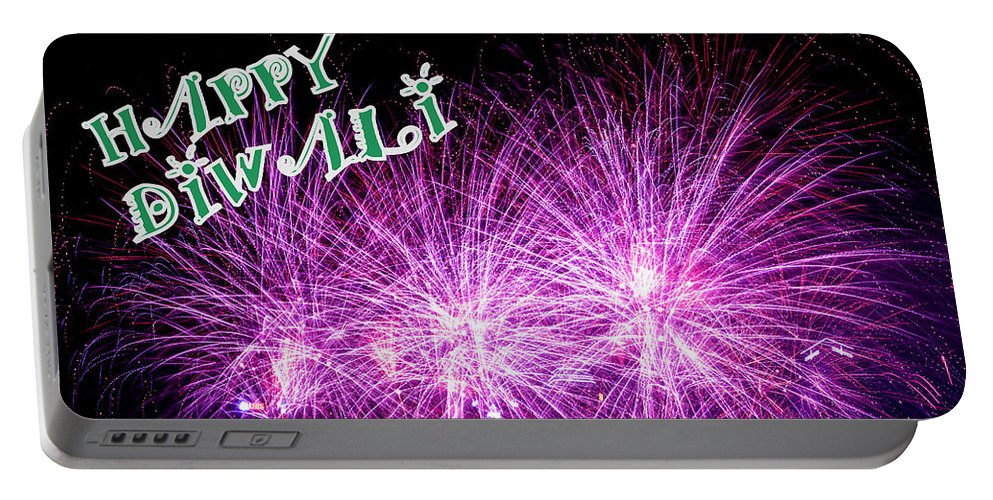 Star - Space Portable Battery Charger featuring the photograph Diwali Greetings Card by Jijo George