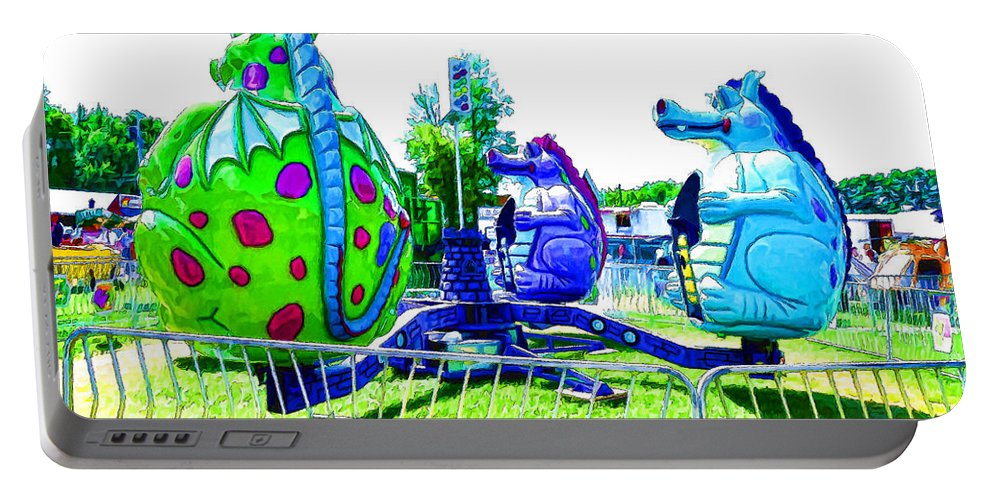 Dizzy Dragon Ride Portable Battery Charger featuring the painting Dizzy Dragon Ride 2  by Jeelan Clark