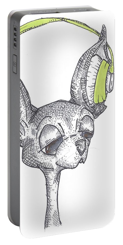 Chihuahua Art Portable Battery Charger featuring the drawing Dj Chihuahua by Kathryn Sanderson