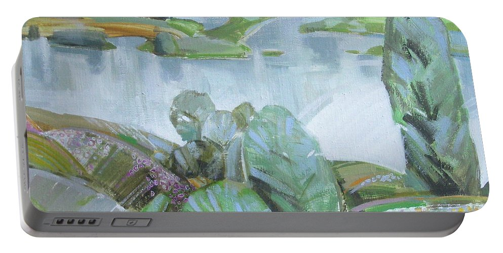 Landscape Portable Battery Charger featuring the painting Dnepro river by Sergey Ignatenko