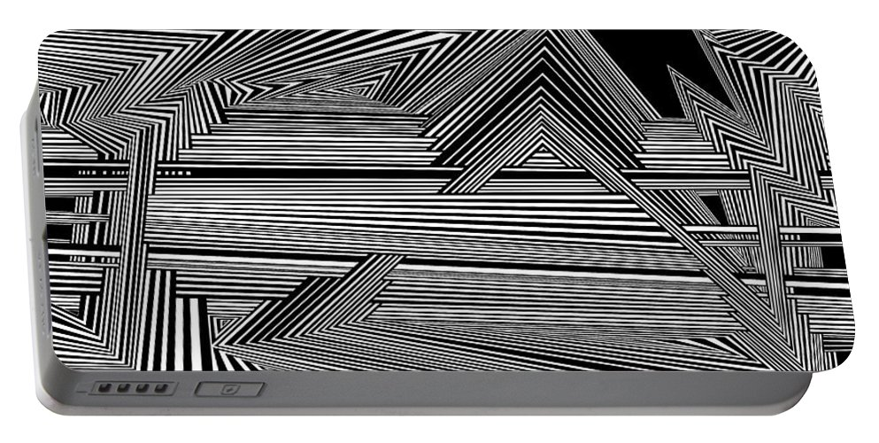 Dynamic Black And White Portable Battery Charger featuring the digital art Dneyreveht by Douglas Christian Larsen