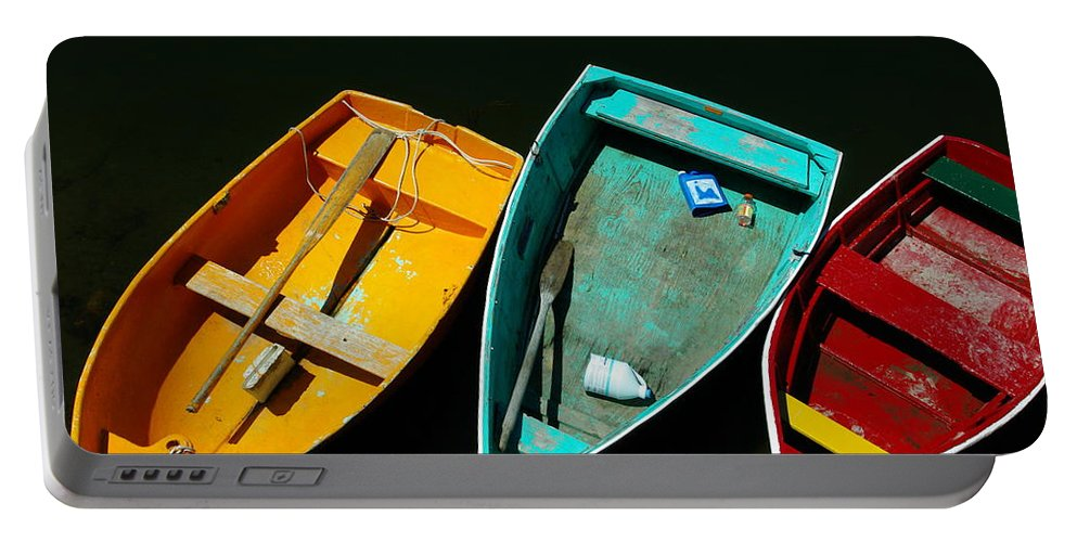 Landscape Nautical Row Boat New England Rockport Portable Battery Charger featuring the photograph Dnre0603 by Henry Butz