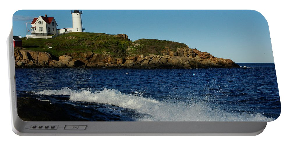 Landscape Lighthouse Nautical New England Cape Neddick Nubble Light Portable Battery Charger featuring the photograph Dnre0608 by Henry Butz