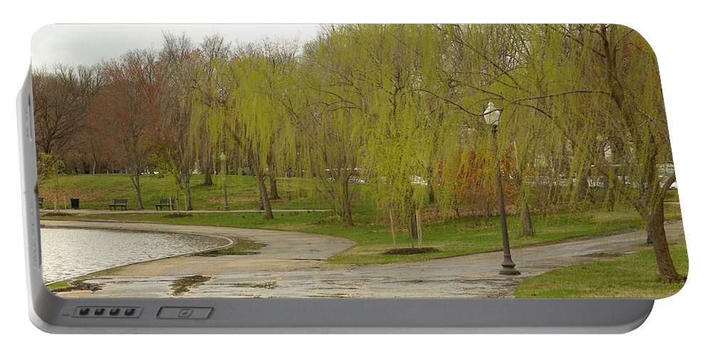 Landscape Park Washington Willow Tree Lake Portable Battery Charger featuring the photograph Dnrf0401 by Henry Butz
