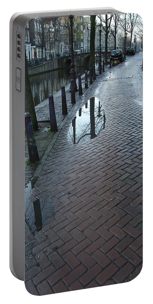 Landscape Amsterdam Red Light District Portable Battery Charger featuring the photograph Dnrh1109 by Henry Butz