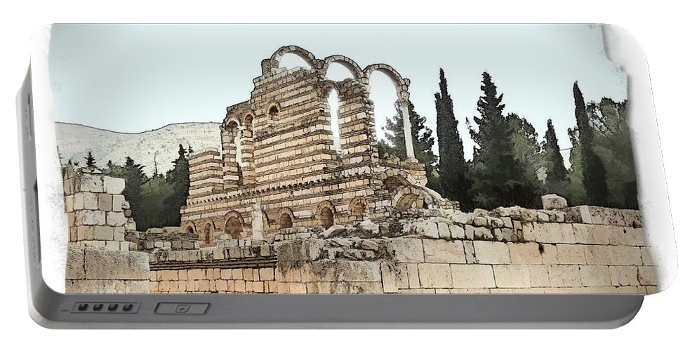 Ancient Portable Battery Charger featuring the photograph Do-00306 Old Ruins In Anjar by Digital Oil