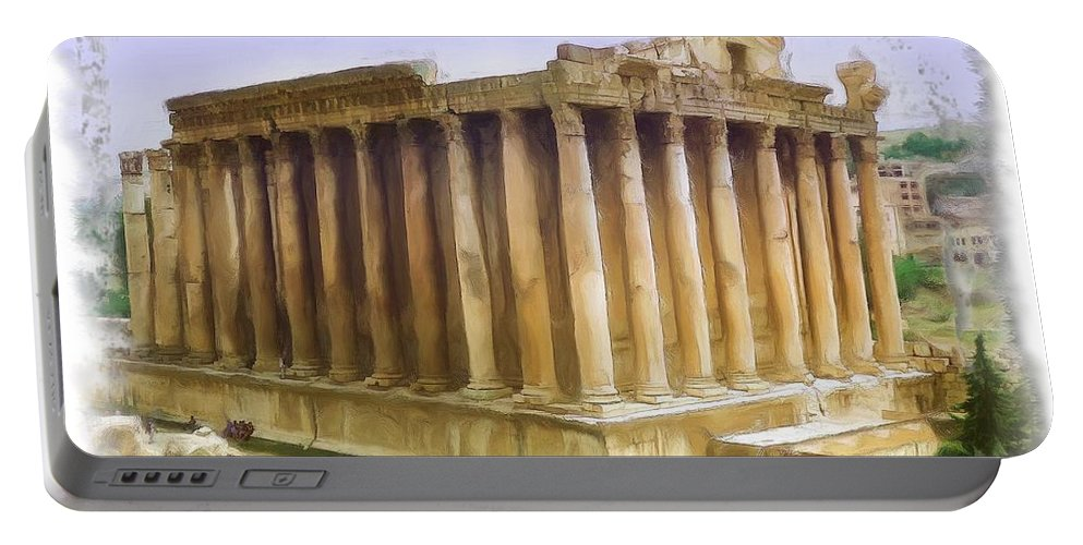 Roman Portable Battery Charger featuring the photograph Do-00312 Temple Of Bacchus In Baalbeck by Digital Oil