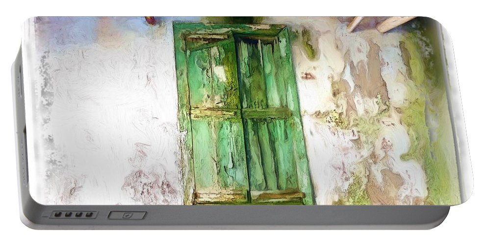 Soaked Window Portable Battery Charger featuring the photograph Do-00320 Soaked Window by Digital Oil