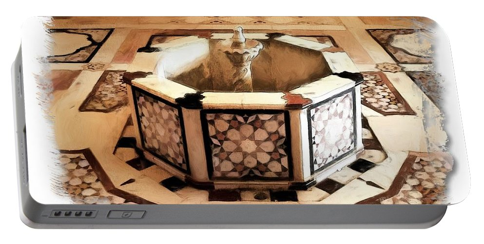 Decorative Portable Battery Charger featuring the photograph Do-00323 Old Bath Fountain by Digital Oil