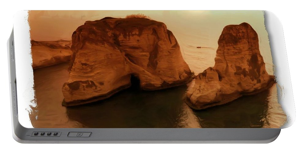 Raouche Portable Battery Charger featuring the photograph Do-00405 Raouche Sunset Beirut by Digital Oil