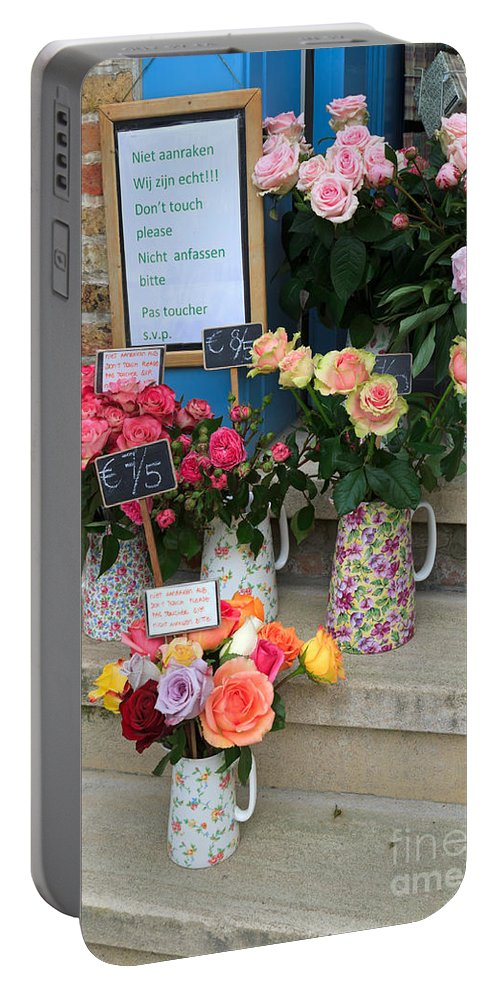 Roses Portable Battery Charger featuring the photograph Do Not Touch The Floral Display by Louise Heusinkveld